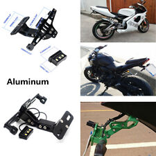 Motorcycle License Plate Holder Mount Adjustable Aluminum with LED Light Bracket