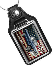 1969 Chevrolet C10 Pick Up Truck American Flag Design Faux Leather Key Ring