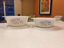 Vintage Pyrex from England Blue Iris Cinderella Nesting Mixing Serving Bowl Set