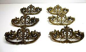 Antique Vintage Ornate  Brass Drawer Pull Handles Hardware Set of 6