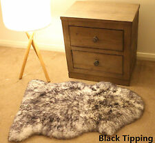 Black Tip 100CM Genuine Australian Sheepskin Lambskin Rug Pelt ECO-TAN SANITIZED