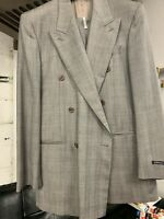 New 40L Double Breasted Men's Gray Suit 100% Wool Made in Italy Ret/$1295