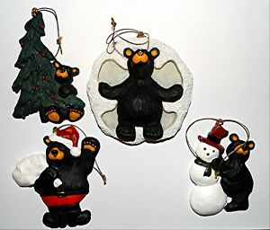 Bear Foots Bears, Snow Angel Fun, Winter Snowman, Christmas tree Ornament set