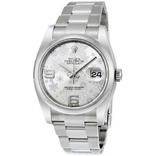 Rolex Datejust Automatic Silver Floral Dial Stainless Steel Ladies Watch