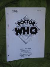 Flipper Doctor Who opérations parts & Contour schémas Manuel d'origine Flipper