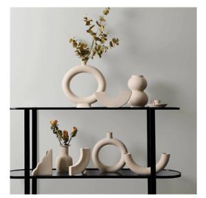 Nordic Minimalist Handmade Ceramic Vase Decor Aesthetic Beige Modern Irregular