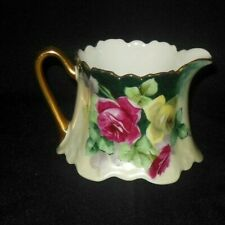 Z S CO BAVARIA HAND PAINTED SCROLLED CREAMER YELLOW MAUVE ROSES GOLD RIM 1880