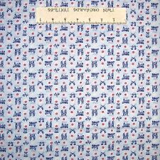 Americana Fabric - Blue Train Soldier Bell Calico - Mary Fons Small Wonders YARD