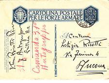CARTOLINA POSTALE PER LE FORZE ARMATE 1936 ERITREA A.O. per ANCONA 31° AUTORAGR.