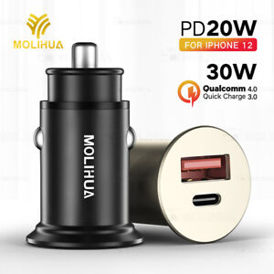 30W PD QC 4.0 Dual USB Socket TypeC Quick Charge 5A Car Charger For iPhone 12 11