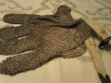 Vintage Chainmail Safety 5 Finger Glove Metal Mesh