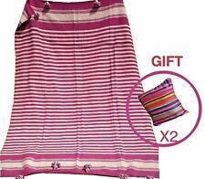 Large size Handmade Moroccan Pom Pom Blanket pink cotton throw rug 8'5'' x 6'2''