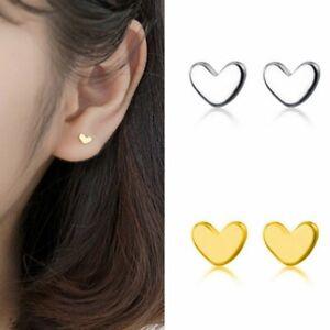 Fashion 925 Silver Mini Small Love Heart Ear Stud Earrings Women Jewelry Gift