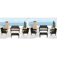 Arredo divano poltrone tavolino nero o marrone rattan set giardino cuscini |6q