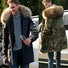 Roiii Mens Winter Hooded Parka Warm Jacket Military Coat Faux Fur Collar Pockets