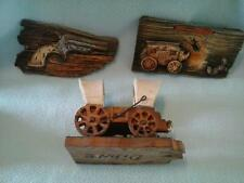 3 South Western Decor Items 1 Wood Covered Wagon & 2 Wall Plaques Diane Vintage