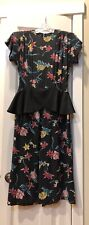 1940's Femme Fatale Cold Rayon Floral and Key Print Peplum Dress WWII Era, S - M