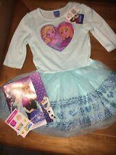 Disney Frozen Sz 6 Elsa Tulle Dress Nwt Justice Stickers Book Lot Princess