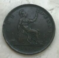 1862 Great Britain 1 One Penny - Nice Condition with Some Verdigris Green