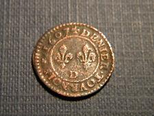 HENRI IV..DENIER TOURNOIS 1607. Lettre atelier D sur avers et revers. R3.
