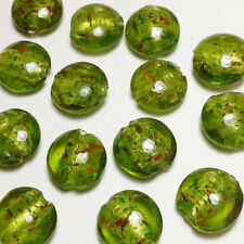 25pcs Olive Green Speckled Silver Foil Lampwork Beads 15mm Jewellery Making G2
