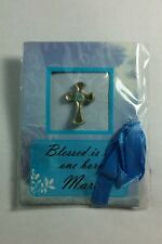 Cross Small Button Pinback Pin Nip March Baby Lt Blue Birthday Stone Astrology