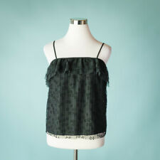 J Crew Size XS Top Black Mesh Blouse Tank Top Camisole Pleated Lace Ruffle