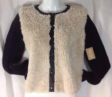 NEW RACHEL ROY Angora Fur Sweater Jacket Size Med M Black Faux Leather Coat $129