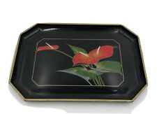 Toyo Japan Tray Platter Lacquer Ware  Black With Red Lilies Flowers