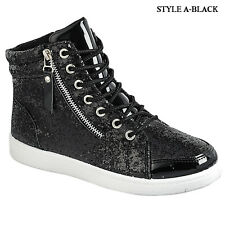 New Women High Top Glitter Sneakers Lightweight Walking Athletic Lace Up Shoes