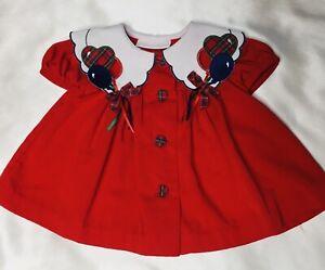 Bonnie Baby Vintage Infant Girls RED Dress w/ BALLOON Detail White Collar 3-6 A+
