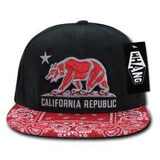 Black Red California Republic Cali Bandana Flat Bill Snapback Snap Back Cap Hat
