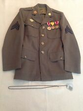 WWII US Army Signal Corps Sgt Lot Grouping Tunic Medals Sterling Chain Dog Tags