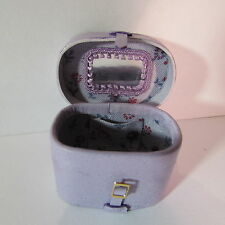 Artisan made doll house miniature lined leather vanity case & strap/buckle 1:12