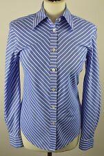 "Premium women's Jaeger oxford blue striped long sleeved shirt size 8 34"""