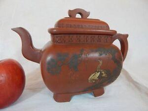 Qing YiXing Zisha Clay Teapot by YANG JiChu 清乾隆 杨季初制彩泥堆绘松鹤唐诗紫砂传炉大壶