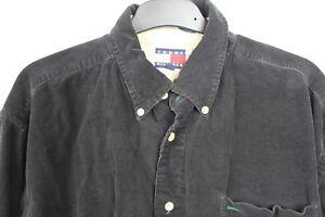 Vintage Early 90s Mens Tommy Hilfiger Black Corduroy Shirt M Preppy College M-L