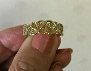 ESTATE VINTAGE 14K YELLOW GOLD BAND RING SIZE 8 2.2 GR HEARTS VALENTINES DAY!