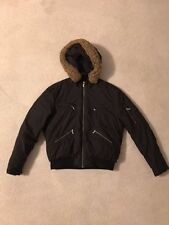 Women's Black Puffy Zipper Jacket With Brown Fur Lined Hood Size Large