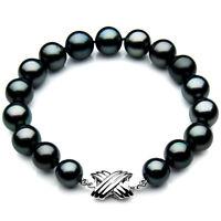 Pacific Pearls® Genuine 11-13mm Tahitian Black Pearl Bracelet Gifts For Daughter