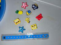 SpongeBob Lot Of 9 + Bracelet,Lace Adapter & Shoe Charms. These Fit Croc Shoes