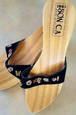 Beaded Wooden Sole Slides Sandals