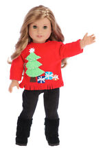 Christmas Sweater - Doll Outfit for 18 in American Girl Doll Sweater Pants Boots