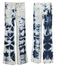 Ladies Womens Bootcut Denim Jeans Vintage Flare Tie Dye Pants Trouser
