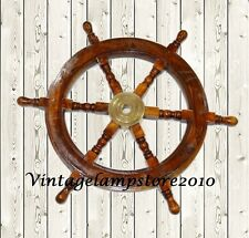"Antique Sheesham Wooden Maritime Decor 24"" Captains Shipwheel Ships Wheel"