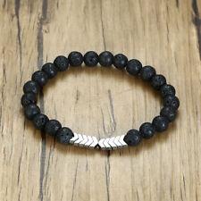 Healing Lava Stone Beaded Men Bracelet Essential Oil Diffuser Charm Silver Arrow