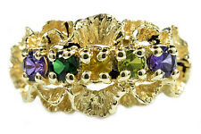 Women's Natural Multi Gemstone 5 Stone Ring in 14k Solid Yellow Gold