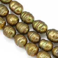 10-11mm Bronze Brown Rice Oval Teardrop Freshwater Pearls Beads Jewellery Making