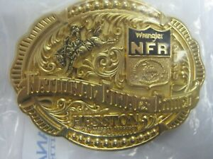 National Finals Rodeo 2020 Hesston Gold Plated Adult NFR Belt Buckle in Orig Pkg