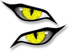 Par De Mal Ojos Ojo en Amarillo Vinilo Coche Moto Casco Pegatina Calcomanía 70x30mm